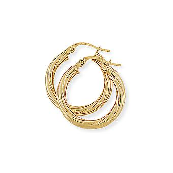 Jewelco London Ladies 9ct Yellow Gold 3mm Liquorice Twisted Hoop Earrings - 20mm