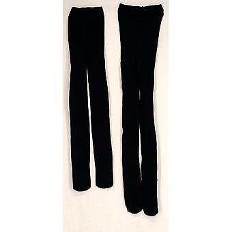 Liz Claiborne York 2 Pack Printed & Solid Basic Black Tights A209456