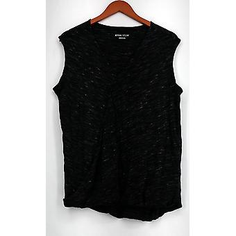 AVA & ViV Top X Space Dye Sleeveless V-Neckline Black Womens