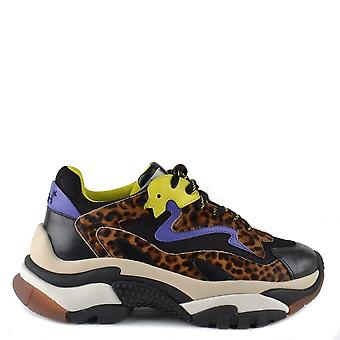 Ash Footwear Addict Black And Leopard Print Trainer