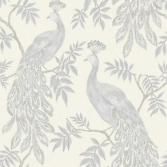 Peacock Bird Wallpaper Metallic Animal Print Cream Paste Wall Vinyl Arthouse
