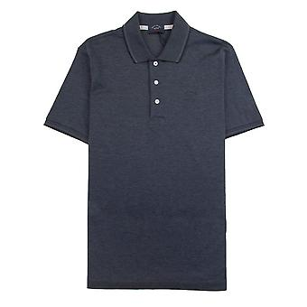 Paul and Shark Paul And Shark Heren Polo Shirt Short Sleeve Dark Grey/Blue 336