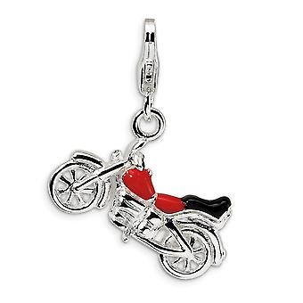 925 Sterling Silver Polerad Fancy Lobster Stängning 3 D Enameled Motorcykel Med Hummer Lås Charm Hänge Halsband Mea