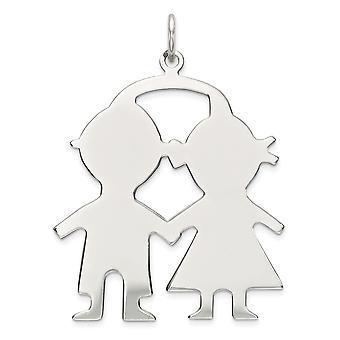 925 sterling sølv flat polert graverbar graverbar gutt jente plate sjarm anheng halskjede smykker gaver til kvinner