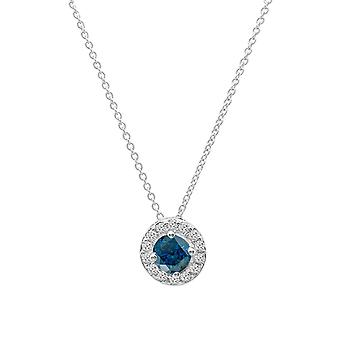 Dazzlingrock Collection 0.50 Carat (ctw) 14K Round Blue & White Diamond Ladies Halo Pendant 1/2 CT, White Gold