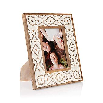 Penguin Home Handcrafted White Wooden Carved Picture frame