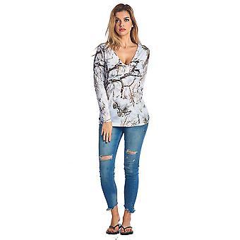 Women's V-Neck Long Sleeve Camo Shirt True Timber