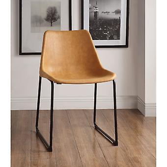 Set de dos sillas laterales metálicas con asiento tapizado de cuero, camello vintage y negro