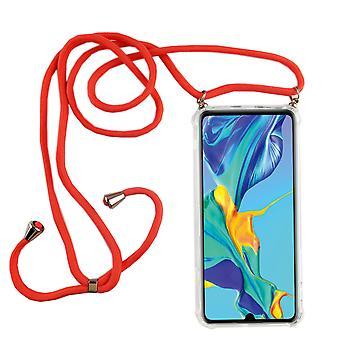 Telefonní řetězec pro Huawei P30 pro-smartphone náhrdelník s pásem karet-kabel s Pouzdrou k pověsit na růžovou