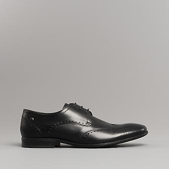 Base London Buckingham menns Leather Wing tips sko voksaktig svart