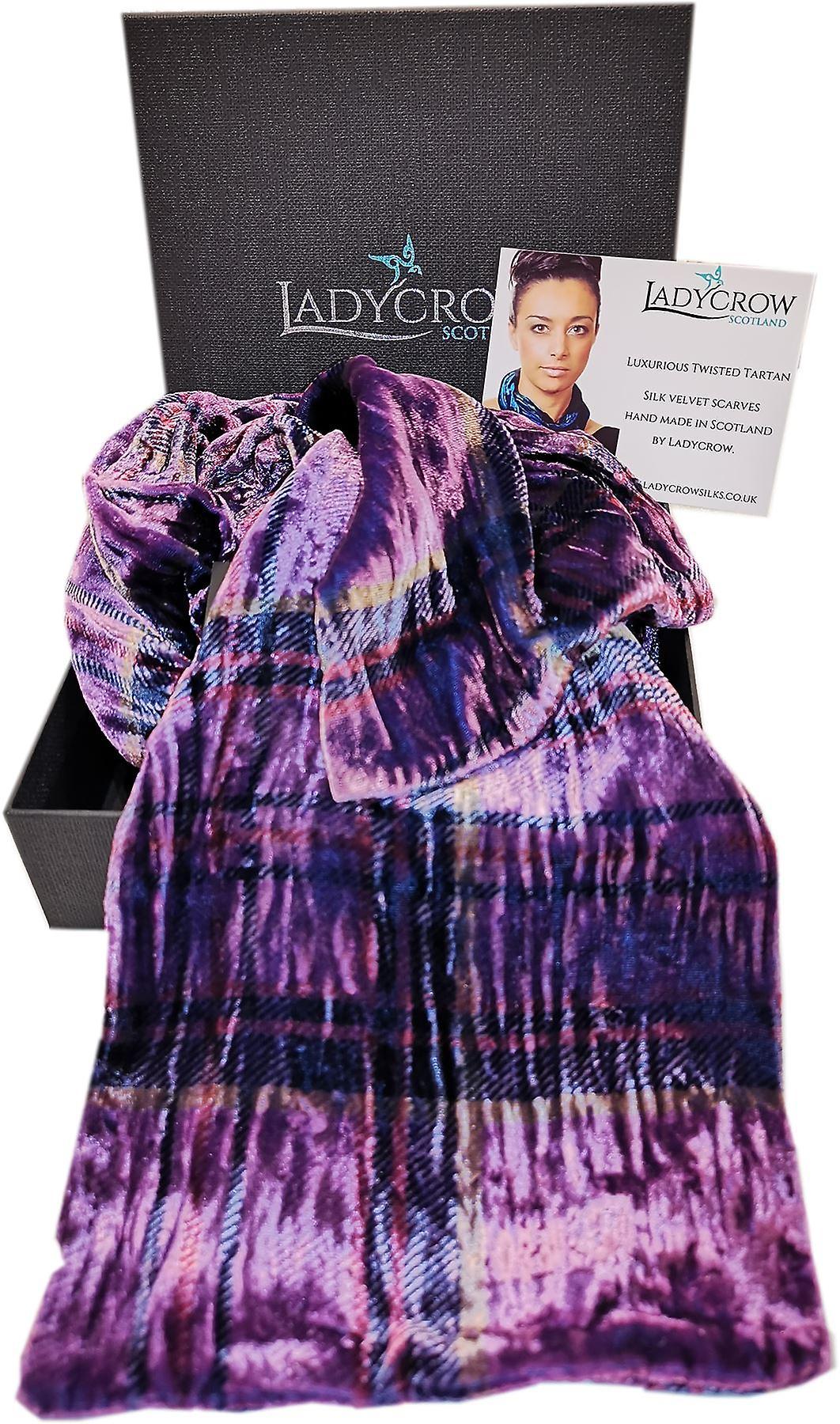 Tartan Silk Velvet Collection Scarf by Ladycrow Scotland - Thistle Purple