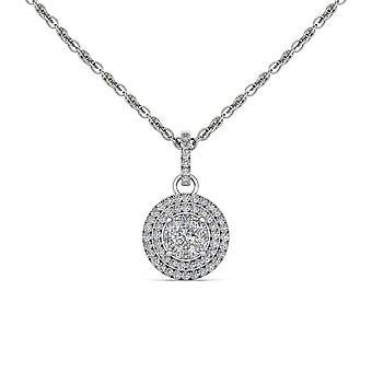 Igi certificado genuino 10k oro blanco 0.5ct redondo talla real halo halo de diamantes collar