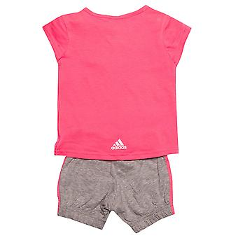 Baby Girls adidas Easy G Set In Pink Grey- T-Shirt:- Cap Sleeve- Button To