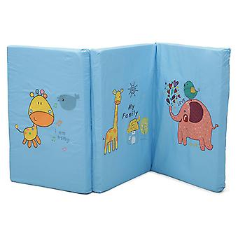 Cangaroo mattress foldable size 120 x 60 x 5 cm, cute animal motifs in blue