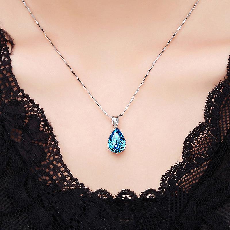 925 Sterling Silver Tear Drop Pendant Necklace