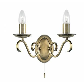 2 Light Indoor Candle Wall Light Antique Brass