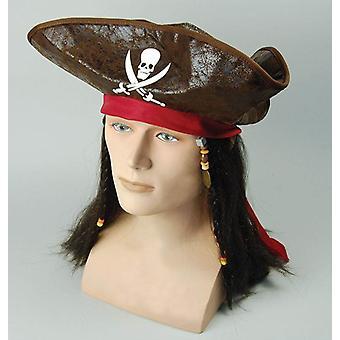 قبعة قرصان الكاريبي + الشعر.