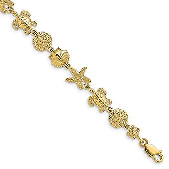 14k Tartaruga de Ouro E Pulseira de Estrela-do-Mar Alto Polonês e Presentes de Joias Textu para Mulheres - Comprimento: 7 a 8