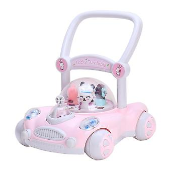 RideonToys4u Baby Sit to Stand Push Along Walker With Rotating Characters Pink