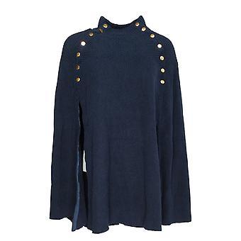 G.I.L.I. got it love it Women's Sweater Cape w/ Button Detail Blue A368018