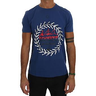 Frankie Morello Blue Cotton Maison T-Shirt
