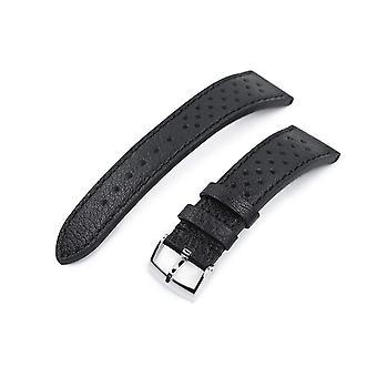 Correa de reloj de cuero Strapcode 20mm o 22mm miltat correa de reloj de carreras de rally, negro