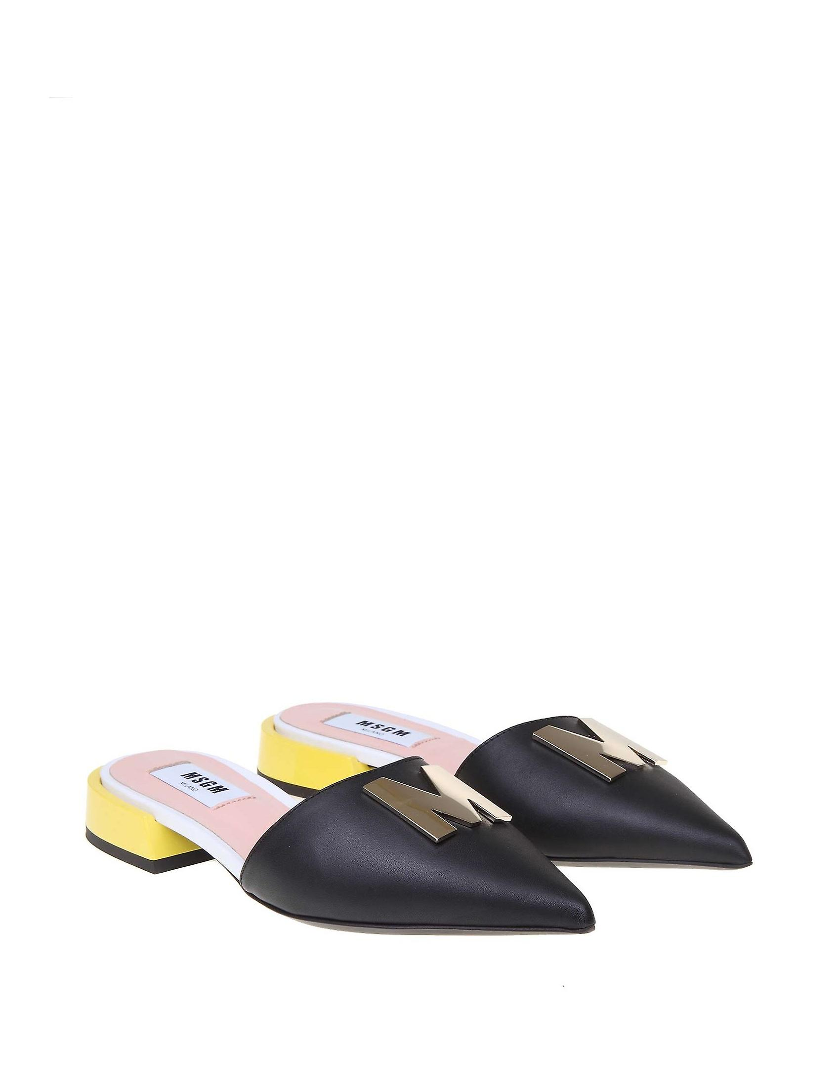 Msgm 2841mds330228199 Women's Black Leather Slippers