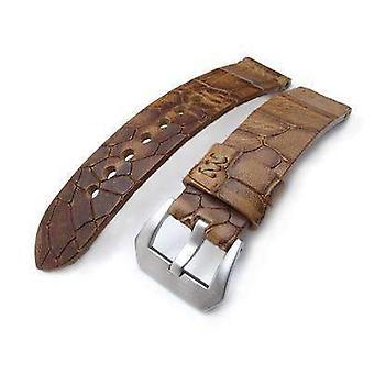 Strapcode krokodil korn klocka rem miltat zizz samling 22mm sprucken croco mellanbrun klocka rem, bruna sömmar