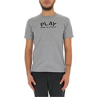 Comme Des Garçons Play P1t0721 Men's Grey Cotton T-shirt