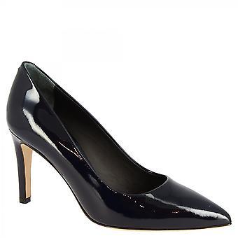 Leonardo Shoes Women's handmade mid heels pumps shoes escuro azul patente couro