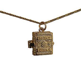 9ct Gold 16x14mm beweglichen Bibel mit dem Vaterunser in Anhänger mit einem Spiga Kette 16 Zoll nur geeignet für Kinder