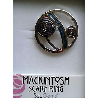 Rennie Mackintosh Glasgow Lilac Rose Enamel Scarf Ring - Gift Boxed