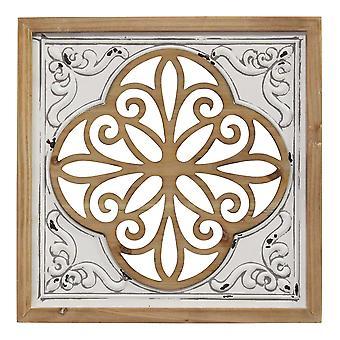 Distressed White Enamel Metal & Wood Framed Wall Art