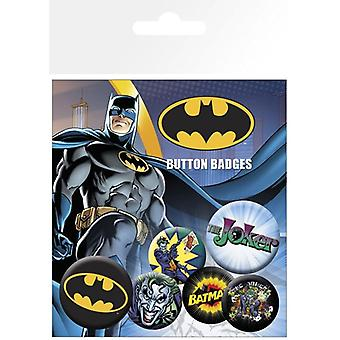 Batman Comic Logo & Joker Pin Button Badges Set