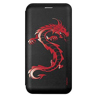 Fodral för IPhone Xs Max Svart Röd Drake Mönster