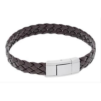 Duncan Walton Vella Braided Leather and Steel Bracelet - Brown