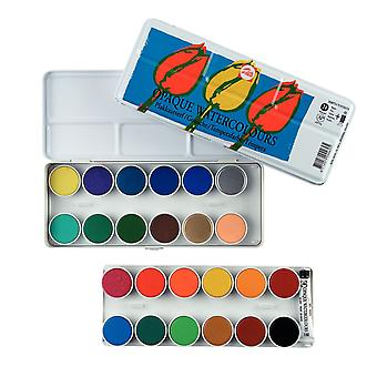 Talens Opaque Watercolour Paint Tin Set (24 Pans, 1 Tube)