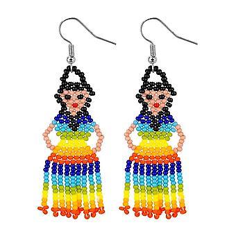 Rainbow Beaded Lady Drop Earrings