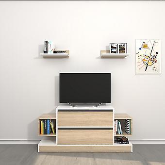 Mobile Porta TV Mautirius Color Bianco, Sonoma in Truciolare Melaminico 130x30x60 cm, 40x20x12 cm