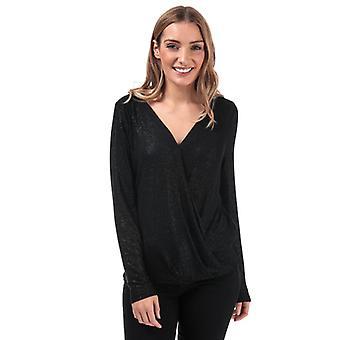 Vrouwen's Vero Moda Honey Glitter Wrap Top in Zwart