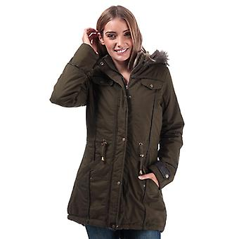 Women's Brave Soul Allure Padded Parka Jacket in Green