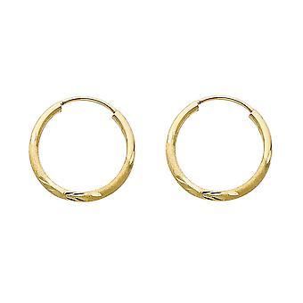 14k giallo oro 1,5mm Budded Sparkle Cut Endless Hoop Orecchini 16mm Regali gioielli per le donne