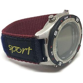Hook and loop wrap around fabric watch strap navy & burgundy 20mm nylon sports