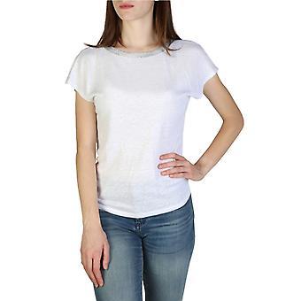 Woman linen short sweater round t-shirt top ae25303