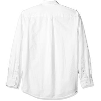 Essentials Men's Regular-Fit Long-Sleeve Solid Pocket Oxford Shirt, Wh...