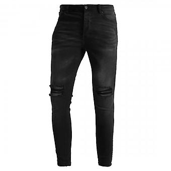 Kings Will Dream Sorollo Super Skinny Stretch Denim Black Ripped Jeans