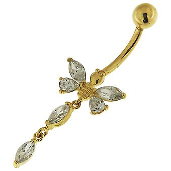 14K Solid Yellow Gold Jeweled Butterfly Dangling Navel Belly Button Ring