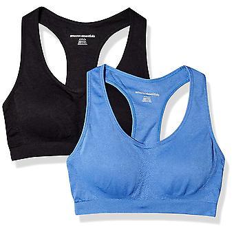 Essentials Women's 2-Pack Light Support Seamless Sports Bras, Bright B...