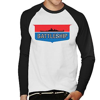 Hasbro Battleship Retro Logo Men-apos;s Baseball Long Sleeved T-Shirt