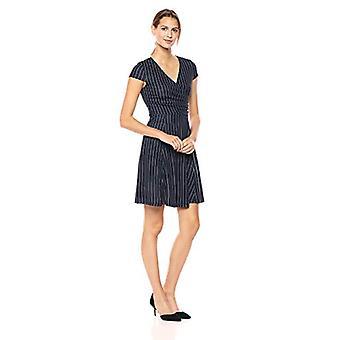 Merk - Lark & Ro Women's Cap Sleeve Faux Wrap Fit and Flare Dress, Navy White Pinstripe, Large